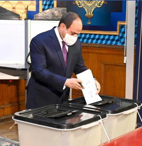 الرئيس عبدالفتاح السيسي يدلي بصوته في انتخابات مجلس الشيوخ 2020