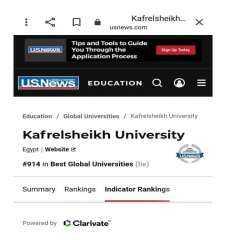 جامعة كفرالشيخ الثامن محليا و316 عالميا بتصنيف يو إس نيوز U.S.News الأمريكي
